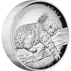 KOALA AUSTRALIANO Alti Rilievi Moneta Argento Proof 1 Oz 1$ Australia 2012