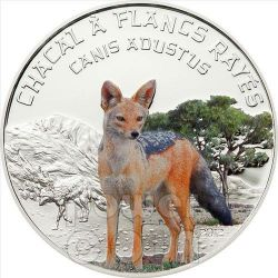 SIDE STRIPED JACKAL Predator Hunters Silver Coin 1000 Francs Niger 2012