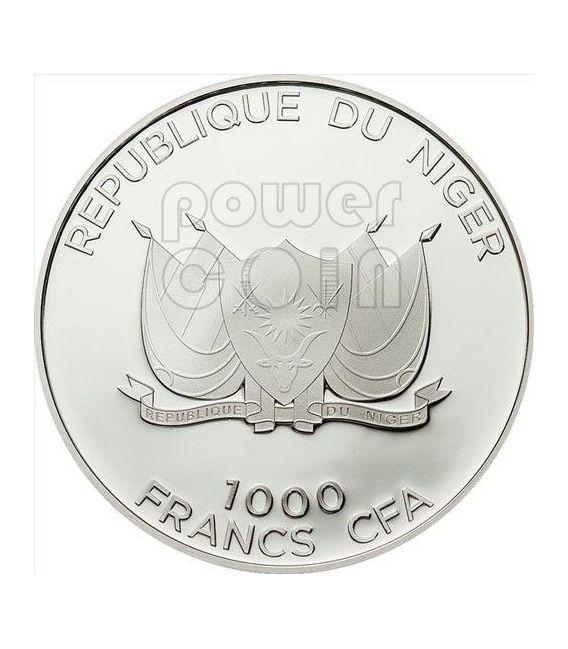 SIDE STRIPED JACKAL Predator Hunters Silver Coin 1000 Francs Niger 2012