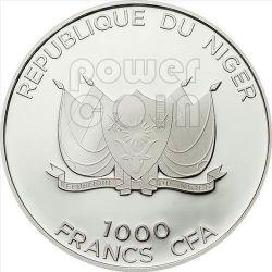 SIDE STRIPED JACKAL Predator Hunters Серебро Монета 1000 Франков Нигер 2012