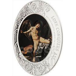 AMOR VICTORIOUS Vincit Omnia Caravaggio Barocco Moneta Argento 5$ Cook Islands 2012