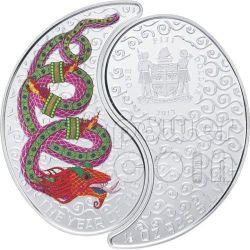 SERPENTE YIN YANG Snake Anno Lunare Cinese Monete Argento 1$ Fiji 2013