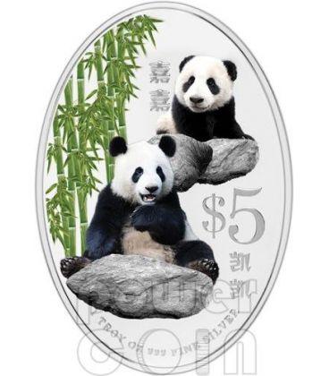 PANDA GIGANTE Commemorativa Moneta Argento 5$ Singapore 2012
