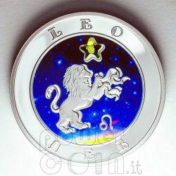 LEONE Oroscopo Zodiaco Zircone Moneta Argento Armenia 2008