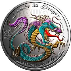 DRAGONE Dragon Anno Lunare Cinese Moneta Argento 1 Oz 1000 Francs Benin 2012