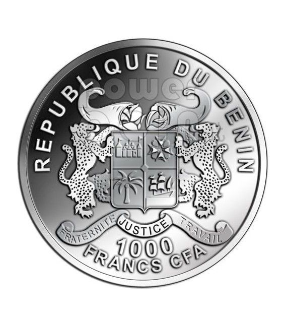 DRAGON Lunar Year Chinese Zodiac 1 Oz Silver Coin 1000 Francs Benin 2012