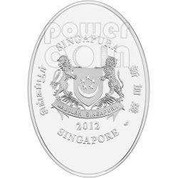 GIANT PANDA Commemorative Plata Proof Colour Moneda 5$ Singapore 2012