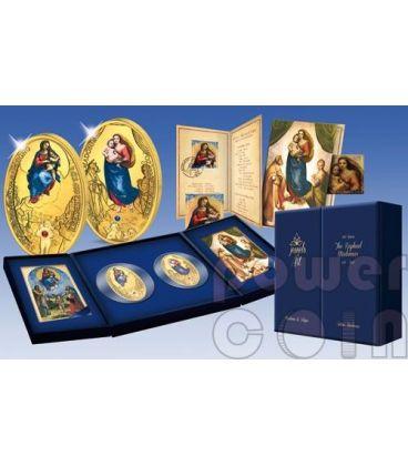 MADONNA SISTINA FOLIGNO Raffaello 500 Anniversario Set 2 Monete Argento Oro 10$ Fiji 2012