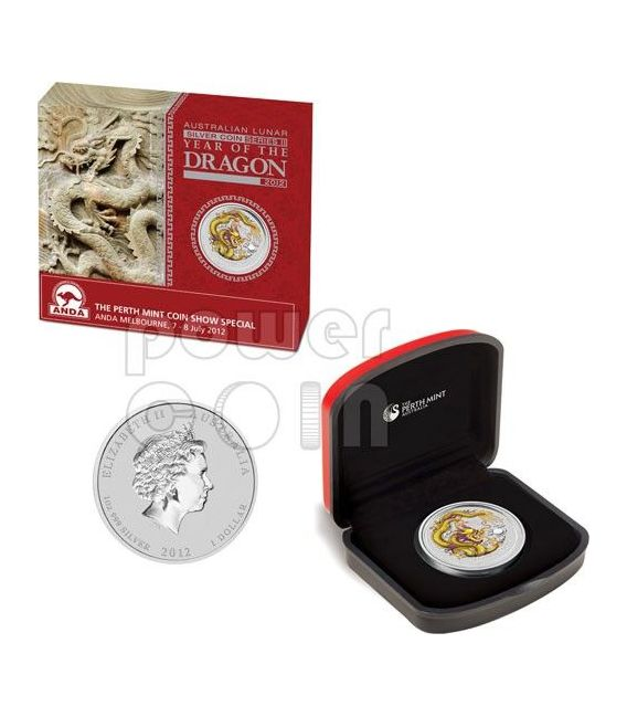 DRAGON ANDA MELBOURNE Yellow Lunar Year 1 Oz Silber Münze 1$ Australia 2012
