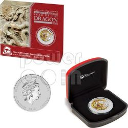 DRAGON ANDA MELBOURNE Yellow Lunar Year 1 Oz Silver Coin 1$ Australia 2012