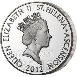 XX CASH East India Company Moneda Plata 1 Oz 20 Pence Saint Helena Ascension Island 2012