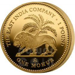 ONE MOHUR East India Company Mughal Empire Золото Монета 1 Фунт Остров Святой Елены 2012