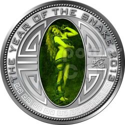 SNAKE LILITH Lunar Year Silver Proof Coin 5 Won North Korea 2013