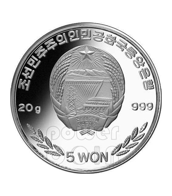 SERPENTE LILITH Snake Anno Lunare Zodiaco Cinese Moneta Argento 5 Won Corea del Nord 2013