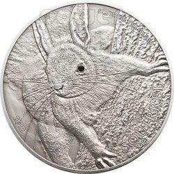 RED SQUIRREL Over The World Black Swarovski Moneda Plata 5$ Palau 2012