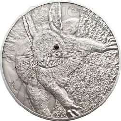 RED SQUIRREL Over The World Black Swarovski Silver Coin 5$ Palau 2012