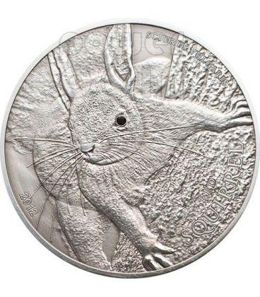 RED SQUIRREL Over The World Black Swarovski Silver Coin 5$ Palau 2012