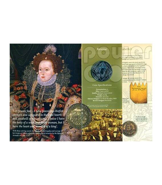 REGINA ELISABETTA I Moneta £5 BU UK Royal Mint 2008