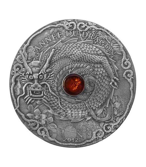 DRAGON AMBER Lunar Year Chinese Zodiac 2 Oz Moneda Plata 1500 Francs Togo 2012