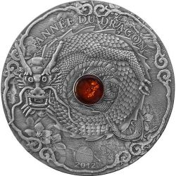 DRAGON AMBER Lunar Year Chinese Zodiac 2 Oz Moneda Plata 1500 Francs Togo 2012