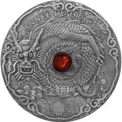DRAGON AMBER Lunar Year Chinese Zodiac 2 Oz Серебро Монета 1500 Франков Того 2012
