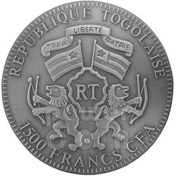 DRAGONE AMBRA Dragon Anno Lunare Cinese Moneta Argento 2 Oz 1500 Francs Togo 2012