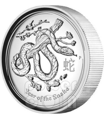 SERPENTE ALTI RILIEVI Snake Lunar Serie Moneta Argento 1 Oz 1$ Australia 2013