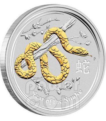 SNAKE Lunar Year Series 1 Oz Gilded Silver Coin 1$ Australia 2013
