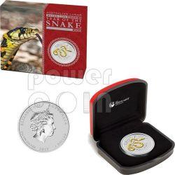 SNAKE Lunar Year Series 1 Oz Gilded Moneda Plata 1$ Australia 2013