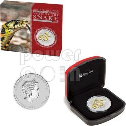 SNAKE Lunar Year Series 1 Oz Gilded Silber Münze 1$ Australia 2013