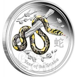 SERPENTE Snake Lunar Serie Moneta Colorata Argento Proof 1 Oz 1$ Australia 2013