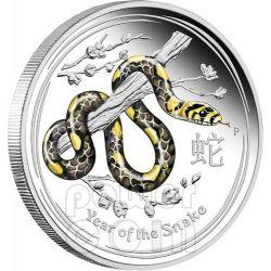 SNAKE Lunar Year Series 1 Oz Coloured Silver Proof Coin 1$ Australia 2013