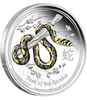 SERPENTE Snake Lunar Serie Moneta Colorata Argento Proof 1 Oz 1$ Australia 2013