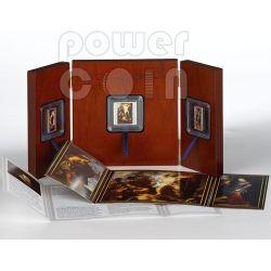 TRITTICO RESURREZIONE DI CRISTO Peter Paul Rubens Set 3 Monete Argento 1$ 2$ Tokelau 2012