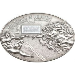 NANO SISTINE CHAPEL Ceilings of Heaven Silver Coin 5$ Cook Islands 2012