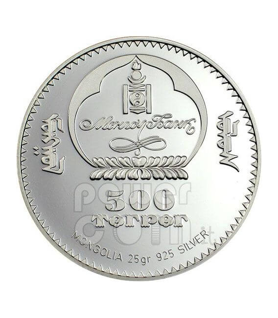 CIGNO Moneta Argento Swarovski 500 Togrog Mongolia 2006