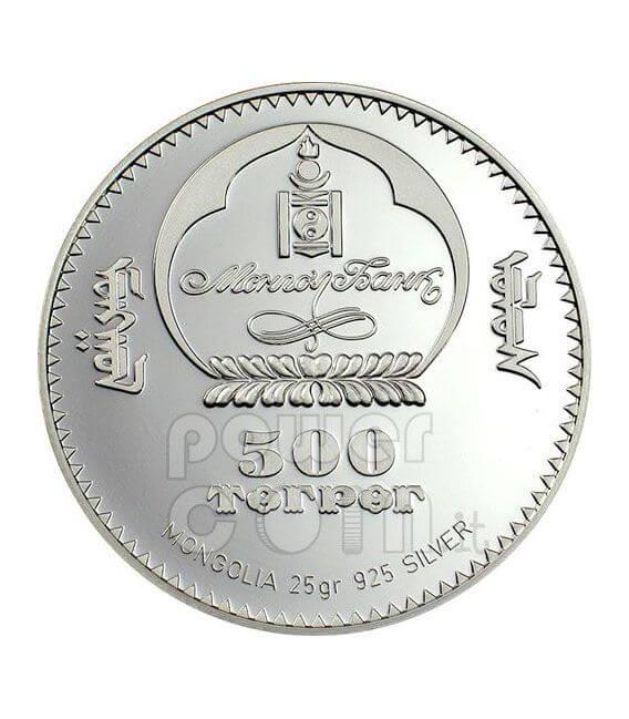 SWAN Endangered Wildlife Серебро Монета Swarovski 500 Тугриков Монголия 2006