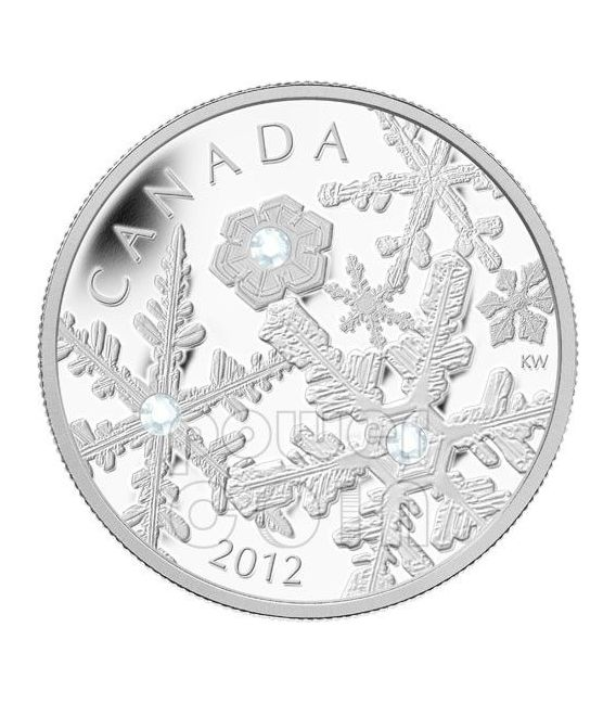 HOLIDAY SNOWSTORM Snowflake Moneta Argento Swarovski 20$ Canada 2012