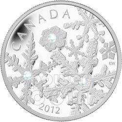 HOLIDAY SNOWSTORM Snowflake Silver Coin Swarovski 20$ Canada 2012