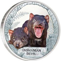 DIAVOLO DELLA TASMANIA Tasmanian Devil Moneta Argento 1$ Tuvalu 2013