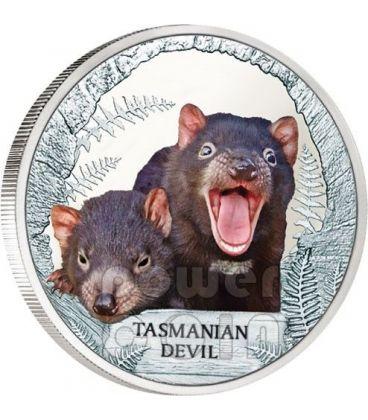 TASMANIAN DEVIL Extinct Endangered Silver Proof Coin 1$ Tuvalu 2013