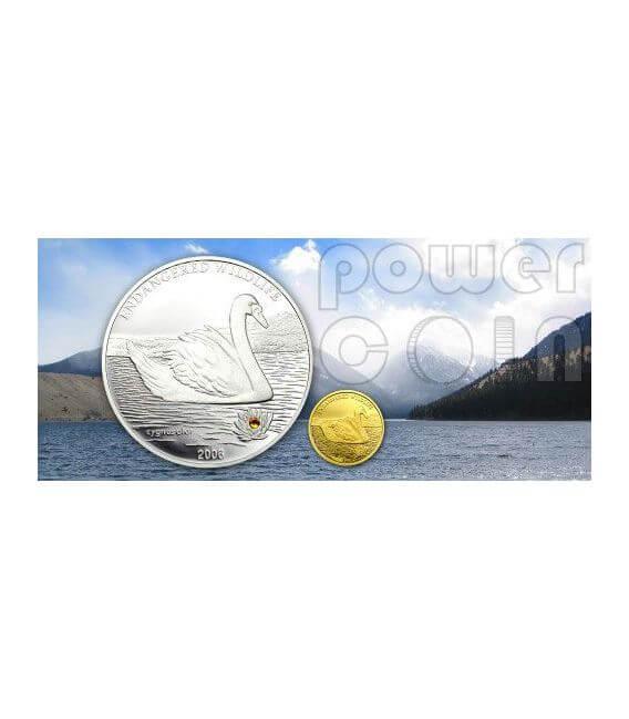 SWAN Endangered Wildlife Silver Coin Swarovski 500 Togrog Mongolia 2006