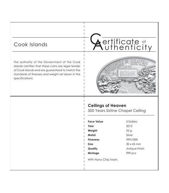 NANO SISTINE CHAPEL Ceilings of Heaven Silver Coin 5$ Cook Islands 2012