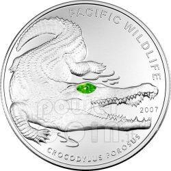 SALTWATER CROCODILE Moneda Plata Swarovski 5$ Palau 2007