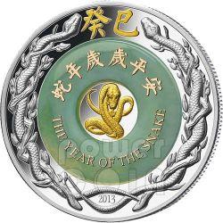 SERPENTE Giada Snake Lunar Year Moneta Argento 2 Oz 2000 Kip Laos 2013