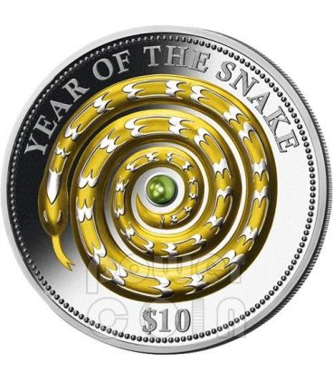 SNAKE GREEN PEARL Chinese Lunar Year 1 Oz Silver Coin 10$ Fiji 2013