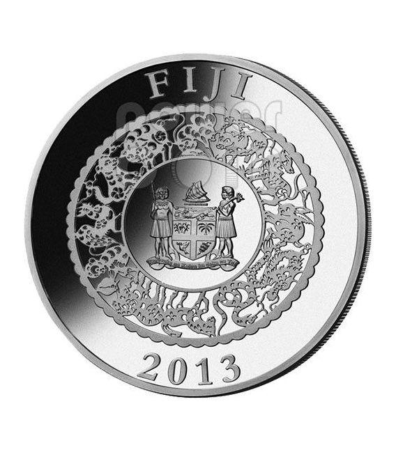 SNAKE GREEN PEARL Chinese Lunar Year 1 Oz Silber Münze 10$ Fiji 2013