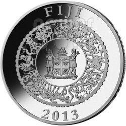 SERPENTE PERLA VERDE Snake Anno Lunare Cinese Moneta Argento 1 Oz 10$ Fiji 2013
