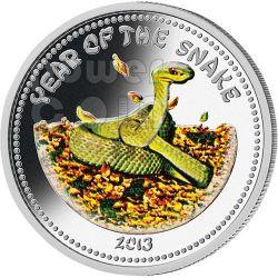 SNAKE Lunar Year 1 Oz Серебро Монета 1000 Кипов Лаос 2013