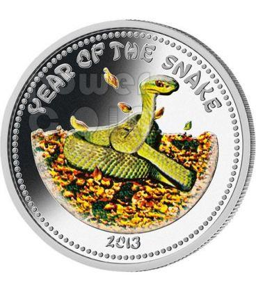 SERPENTE Snake Lunar Year Moneta Argento 1 Oz 1000 Kip Laos 2013